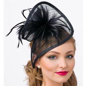 Black Mesh Twist Fascinator Headband with feathers